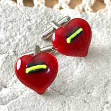 Red Glass Heart Cufflinks with a Flash of Yellow & Black ⋆ Wickstead's Sterling Silver Cufflinks, Red Glass, Yellow Black, Heart Shapes, Valentines, Valentine's Day Diy, Valentines Day, Valentine's Day