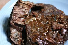 Crock Pot London Broil- 4 ingredients yields tender and juicy beef with zero effort! | BettyCupcakes.com #beef #crockpot