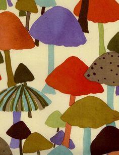 mushroom inspir, artists, luli sanchez, mushroom fabric, pattern, color, candies, textil, print
