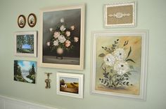 Use Thrift Store Oil Paintings to create a unique Gallery Wall - An Oregon Cottage