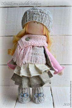Купить Кукла-малыш в розово-серой гамме - бледно-розовый, серый цвет, серый жемчуг