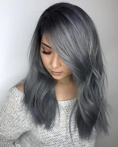 Super Side Part----We mentioned earlier how side parts could cause a sexy effect, but if you want to take it one step further, try moving even further to the one hand to intensify the tantalizing appeal. With a little bit of curl and a flashy color, Silver Ombre Short Hair, Grey Ombre Hair, Blue Grey Hair, Dark Silver Hair, Track Hairstyles, Hairstyles Haircuts, Ladies Hairstyles, Charcoal Hair, Women Haircuts Long