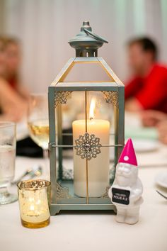 Lanterne centre de table, lantern centerpiece, wedding gnome