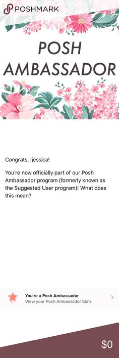 🎉 IM A POSH AMBASSADOR 🎉 I'm so excited to be part of the Posh Ambassador program! 😊 I love being part of the Poshmark community and being able to get to know so many other Poshers has been such a blast! As always, I'm here to answer any questions you may have about any of the items in my closet and about Poshmark in general! ❤️ Thank you guys for continuing to shop my closet and writing really sweet comments! I really appreciate it! Happy Poshing! 😁 Other