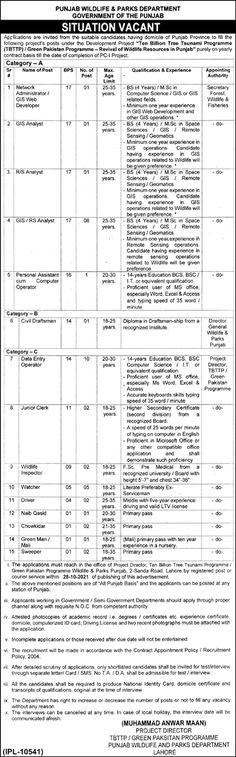 Jobs in Punjab Wildlife Department Lahore 2021