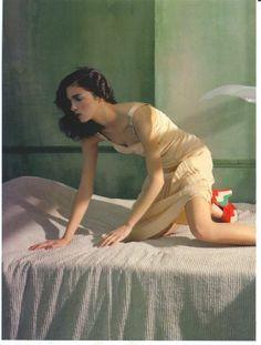 Mariacarla Boscono in Edward Hopper's Morning Sun by Javier Vallhonrat for Flair