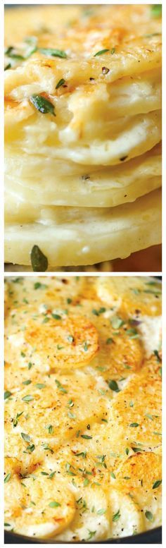 Slow Cooker Cheesy Scalloped Potatoes ~ This crockpot version of scalloped potatoes is so EASY, creamy, tender and cheesy! And it frees up your oven space!