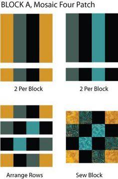 Mosaic Four Patch Quilt Block Pattern