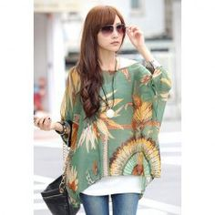 Batwing Sleeves Scoop Neck Feather Print Plus Size Casual Women's BlouseBlouses | RoseGal.com