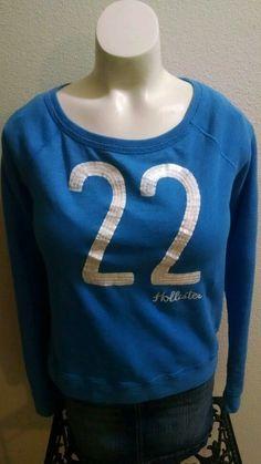 Hollister Blue Boat Neck White #22 Sequin Long Sleeve  Sweatshirt Size Small S #Hollister #BoatNeckSweatshirt