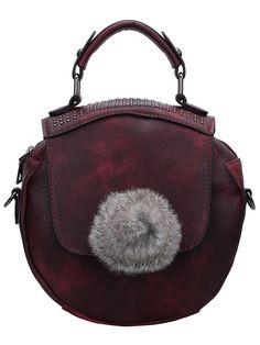 Purple Studded Tote Bag With Fur Ball 16.82