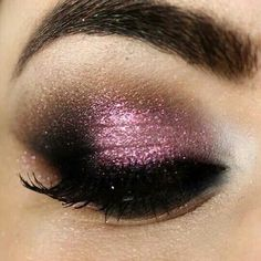 Violet and black make-up