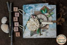 Travel Mini Album Tutorial - July 'The Wayfarer' kit Mixed Media Scrapbooking, Mini Album Tutorial, New Hobbies, Diy Scrapbook, Mini Albums, Paper Crafts, Fern, Create, Darkness