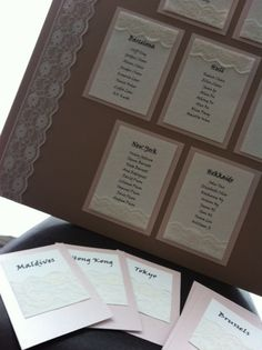 Handmade lace wedding table plan and table namecards