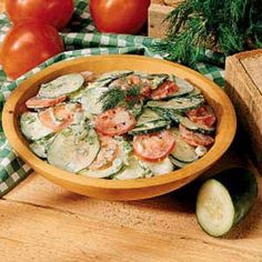 Need German salad recipes? Get delicious German salad recipes for your next meal or gathering. Taste of Home has lots of German salad recipes including German potato salads, cucumber salads, and more German salad recipes. Cucumber Recipes, Vegetable Recipes, Salad Recipes, Vegetable Sides, Sour Cream Cucumbers, German Cucumber Salad, Cooking Recipes, Healthy Recipes, Fruits And Veggies