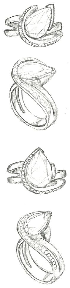 Mark Schneider Design - sketch of Vision engagement ring with a pear cut diamond center