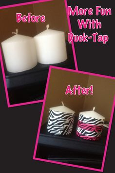 Candle makeover with duck tape