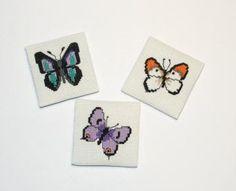 Set of 3 Butterfly Cross Stitch Magnets