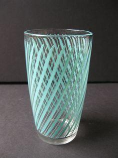Vintage Aqua blue  drinking glass via Etsy