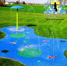 Splash Pad Installation, Kits & Water Playground Equipment My Splash Pad water park installer for backyard Ohio OH aquatic play area residential home Backyard Dog Area, Backyard Water Parks, Backyard For Kids, Backyard Patio, Backyard Play Areas, Play Yard, Backyard Landscaping, Water Playground, Backyard Playground