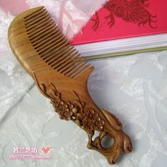 Natural green sandalwood combs wooden carving double faced day birthday gift girlfriend gifts health comb