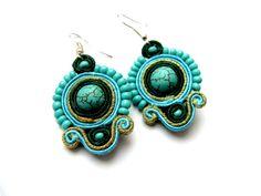 Royal Turquoise soutache SET earrings and by VanilaGiftshop, via Etsy.