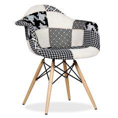 Chaise WOODEN ARMS PATCHWORK Edition Pepy Noir et Blanc (Chaises Iconiques Design) DAW