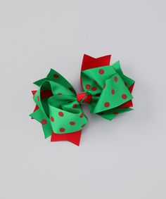 Take a look at this Red & Green Christmas Twist Bow Clip by Pouty Posh on #zulily today!