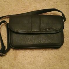 Black faux leather shoulder bag Used only once. In new condition. Has credit card slots inside along with a couple of different zipper compartments. Bass Bags Shoulder Bags