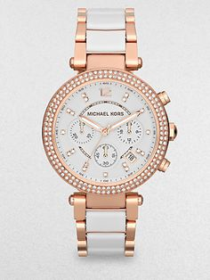 Michael Kors - Crystal, Rose Goldtone Stainless Steel & Acetate Watch - Saks.com