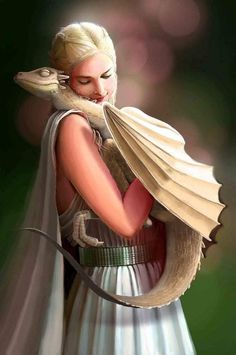 "Viserion flapped at her and tried to perch on her shoulder, as he had when he was smaller. ""No,"" Dany said, trying to shrug him off gently. ""You're too big for that now, sweetling."" But the dragon coiled his white and gold tail around one arm and dug black claws into the fabric of her sleeve, clinging tightly. Helpless, she sank into Groleo's great leather chair, giggling."