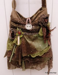 This large bohemian gypsy bag has a very earthy loose feel to it that I would like to portray in my work, the layering of light mossy toned fabrics leads on the them of the enchanted forest, and other fairy tales.
