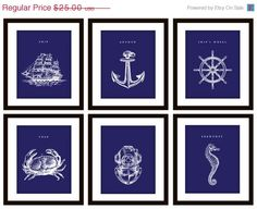 25 OFF SALE 6 Nautical Navy Blue Art Prints ANY by PrintsofBeauty, $18.75