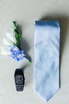 Emily & Nick | Wedding in Tampa Bay | Blue and white boutonniere. Freesia boutonniere. #andrealaynefloraldesign #tampaweddings