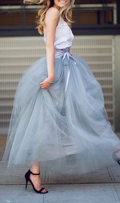 Women's fashion | Ribbon belt on high waisted pastel tulle skirt