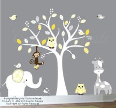 Yellow and Grey Childrens wall decal white tree by couturedecals, $129.00