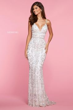 Shimmer and shine all night long at your senior prom wearing this absolutely gorgeous Sherri Hill long dress 53136 embellished decadently with sequins a. Long Mermaid Dress, Mermaid Dresses, Dresses Short, Black Prom Dresses, Ivory Dresses, Wedding Dresses, Sherri Hill Prom Dresses, Homecoming Dresses, Sherri Hill White Dress