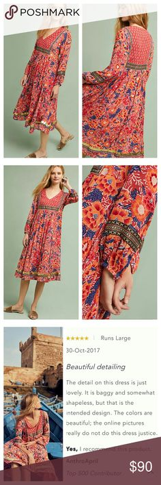 """Anthropology Trimmed Peasant Dress Retail $178 Size XS  A colorful bohemian motif gives this v-neck silhouette an effortless, stylish edge.  Rayon Pullover styling Hand wash Imported  Dimensions Regular falls 46.5"""" from shoulder Anthropologie Dresses Midi"""