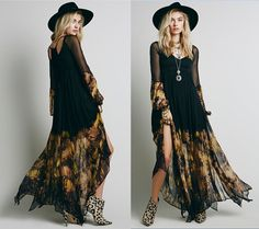 Floral Witchy Boho Maxi Dress