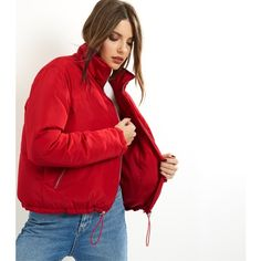 0a960d6b6056c New Look Red Padded Puffer Jacket (26 CAD) ❤ liked on Polyvore featuring  outerwear
