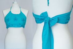 Vintage 90's open back halter top in blue by VintageVanillaShop #vintage #fashion #vogueteam