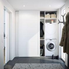 Inspiration til dit nye bryggers Laundry Cupboard, Laundry Room Cabinets, Laundry Room Bathroom, Laundry Closet, Ikea Sliding Door, Tiny Laundry Rooms, Inside Doors, Laundry Room Design, Küchen Design