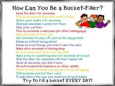 bucket filling ideas – to go with emotional bank accounts