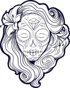 Create your own sugar skull advanced coloring page, or enjoy an already colored in, free printable sugar skull! #printable #schoolart