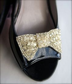 Bow Shoe Clips, Petite Bow Tie Gold Beaded Bow Wedding Shoe Clips Bluette shoe clips, antique silver, vintage silver 3 inch ready to ship. $28.00, via Etsy.