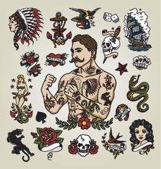 Isolated tattoo hipster man and various tattoo images. - Buy this stock vector and explore similar vectors at Adobe Stock Trendy Tattoos, Tattoos For Guys, Small Tattoos, Edinburgh Tattoo, Britney Spears Tattoos, Traditional Tattoo Man, American Traditional Tattoos, Traditional Flash, American Classic Tattoo