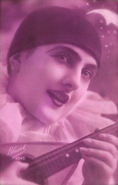 Art Deco French Pierrot Romantic Clown Lady Fantasy by The Moon Original Rare 1920s Tinted Photo Postcard by Bleuet Studio, Paris