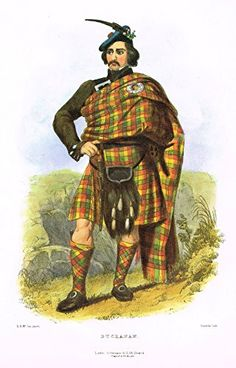 Clans & Tartans of Scotland by McIan - BUCHANAN - Lithograph -1988