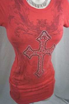DAYTRIP by the Buckle BKE Rhinestone CROSS Bling Womens Shirt Top Blouse S small #Daytrip #Blouse #Casual