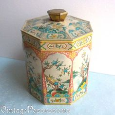 Vintage English Octagon Tin Box  Tea Caddy  by VintagePossessions, SOLD
